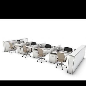 3d辦公桌工位模型