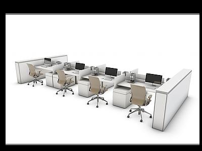 辦公桌工位模型3d模型