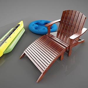 3d戶外沙灘椅子模型