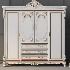 3d欧式古典法式衣柜模型