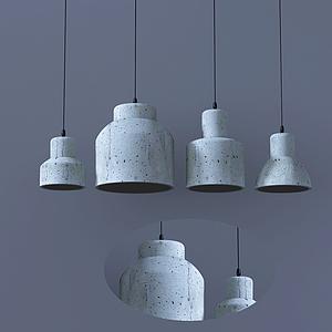 現代麥色吊燈模型
