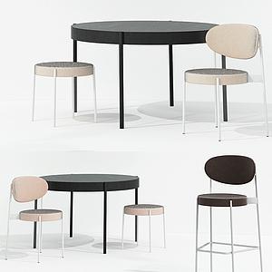 現代圓桌椅組合模型