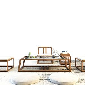 3d中式茶桌模型