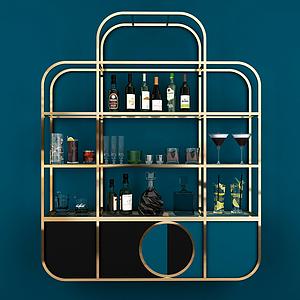 現代金屬裝飾酒架模型