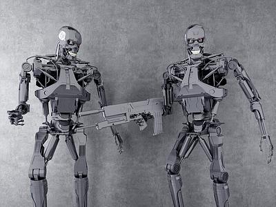 3d終結者金屬骷髏機器人擺件模型