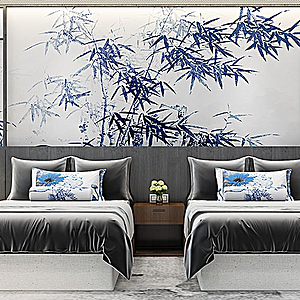 3d新中式客房床床头柜89模型