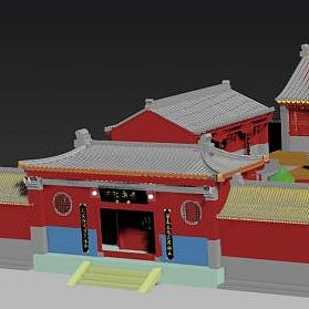 3d古建筑庭院模型