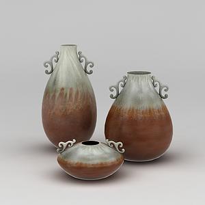 双色陶瓷艺术花瓶模型