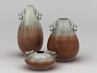 雙色陶瓷藝術花瓶模型