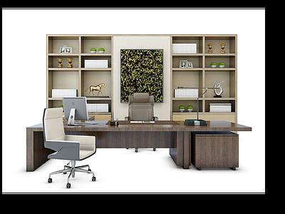 老板臺書柜模型3d模型