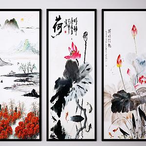 3d中国风装饰画模型