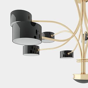 現代竹筒吊燈模型