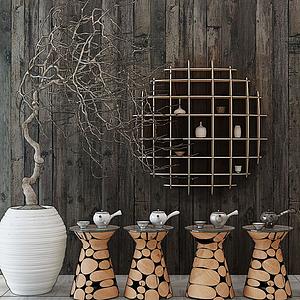 茶具墻飾邊幾模型