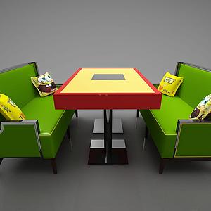 3d<font class='myIsRed'>卡座</font>餐廳桌椅模型