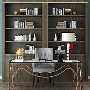 3d書架辦公桌組合模型