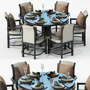 3d美式面包<font class='myIsRed'>餐桌</font>椅模型
