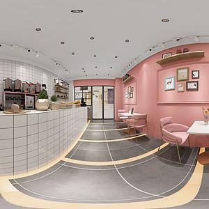 面包咖啡奶茶店全景模型