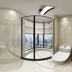 新中式衛生淋浴間全景模型