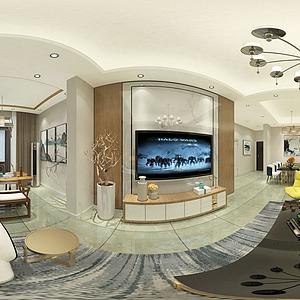 客厅全景效果图模型