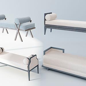 3d新中式床尾凳脚踏模型