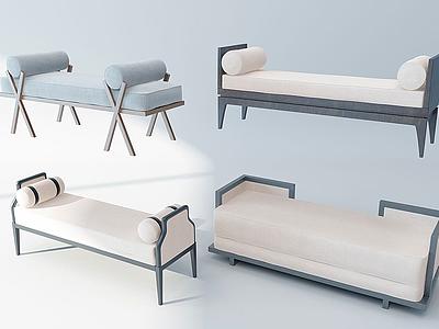 新中式床尾凳腳踏模型3d模型