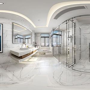 新中式卫生淋浴间全景模型