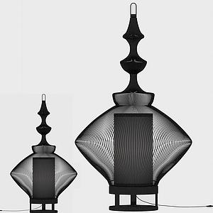 現代柵欄式臺燈模型