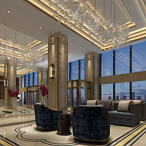 3d大堂酒店模型