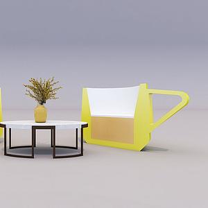 茶杯座椅模型