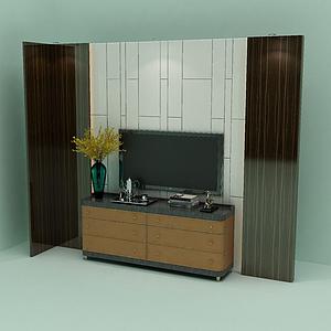 電視平臺背景墻模型