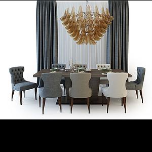 3d簡歐餐桌椅組合模型