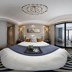 全景臥室新中式模型