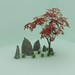 石頭,樹模型