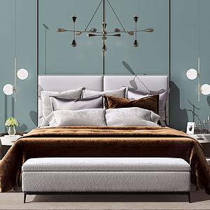 3d卧室床模型
