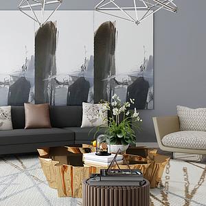 3d超現代客廳沙發模型