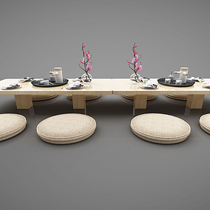 3d日式条形餐桌模型