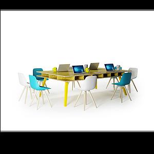 3d<font class='myIsRed'>辦公桌</font>椅組合工位模型