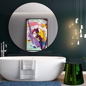 現代浴缸吊燈鏡子組合模型