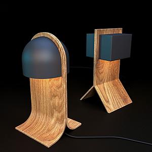 現代木臺燈模型