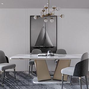 3d現代餐廳餐桌餐椅掛畫組合模型