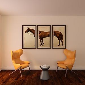 3d單人沙發掛畫模型