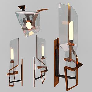 現代壁燈吸頂燈模型