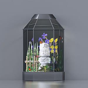 現代擺件盆栽裝飾籠模型