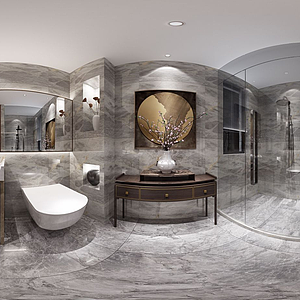 新中式轻奢卫生淋浴间全景模型