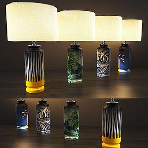 現代花瓶式臺燈模型
