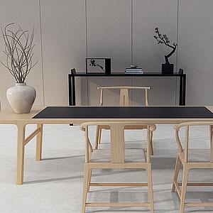 3d新中式書桌模型
