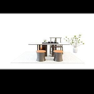3d中式茶桌椅模型