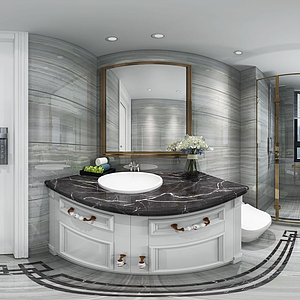 衛生間洗手臺淋浴間全景模型
