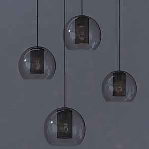 現代圓燈罩玻璃吊燈模型