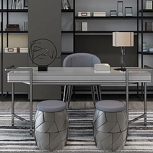 北歐現代書房桌椅模型